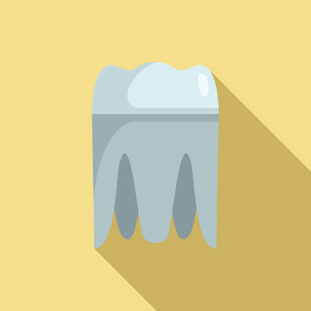 Metal tooth implant icon, flat style
