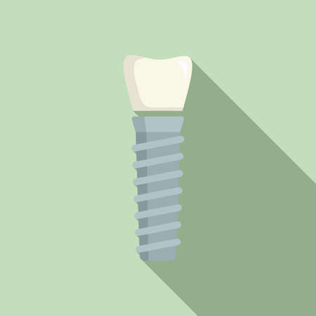 Tooth implant icon, flat style