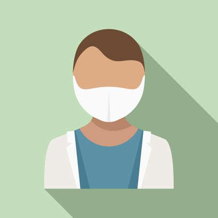 Dentist avatar icon, flat style Çizim
