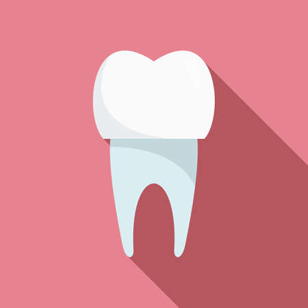 Tooth white implant icon, flat style