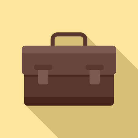 Leather bag icon, flat style