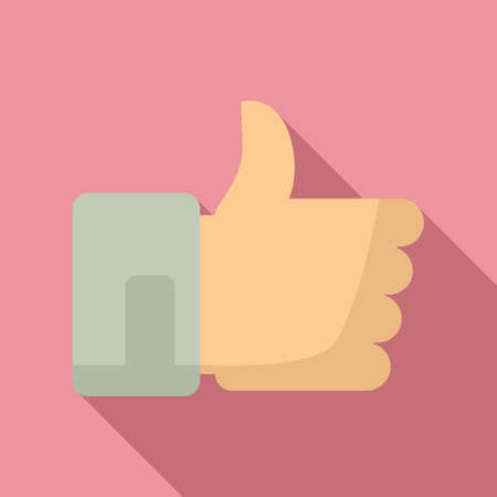 Thumb up mission icon, flat style