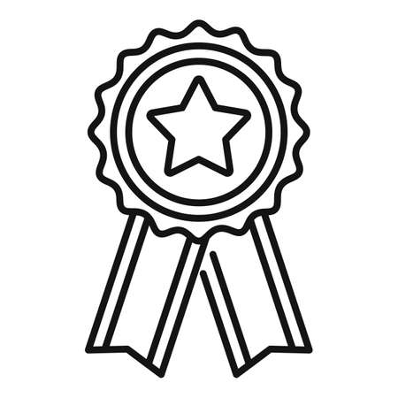 Mission completed emblem icon, outline style Vector Illustratie