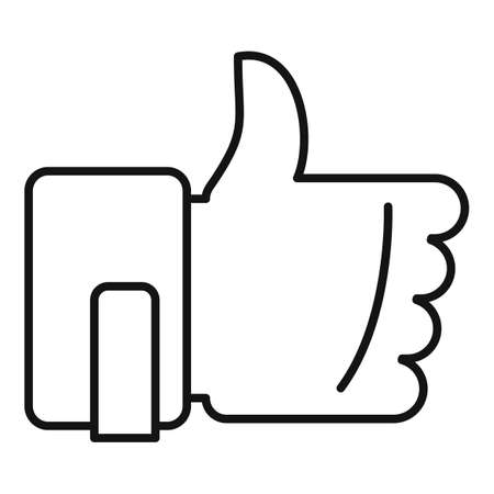 Thumb up mission icon, outline style Vettoriali
