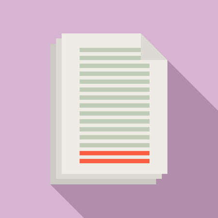 Summary papers icon, flat style
