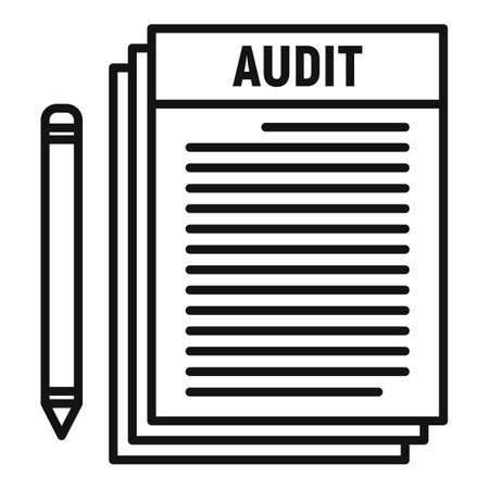 Audit papers icon, outline style Stock Illustratie