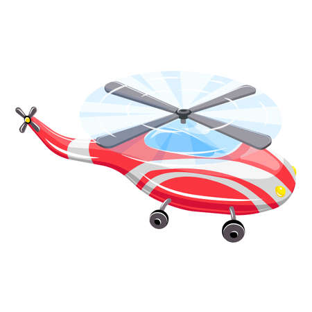 Red flying helicopter icon, cartoon style Vecteurs