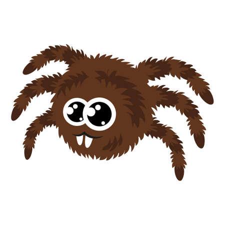 Brown spider icon, cartoon style