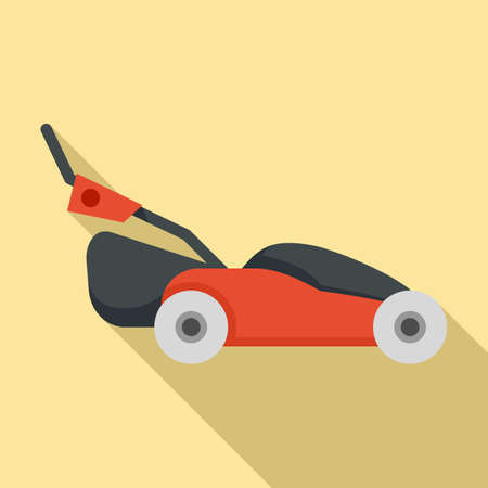 Grass lawn mower icon, flat style
