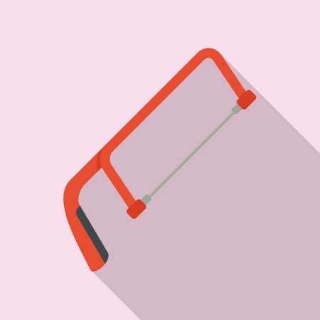 Hand hacksaw icon, flat style