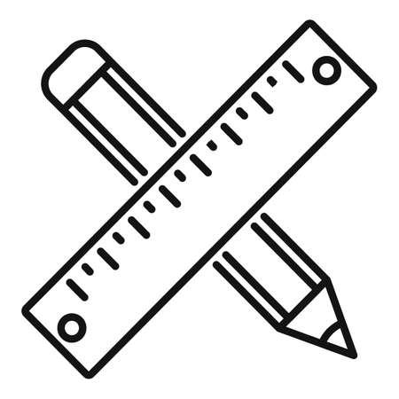 Tiler ruler pencil icon, outline style