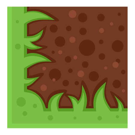 Game platform green grass icon, flat style