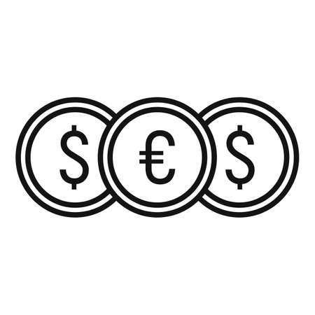 Crowdfunding money coins icon, outline style