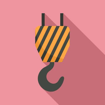 Aircraft repair crane hook icon, flat style