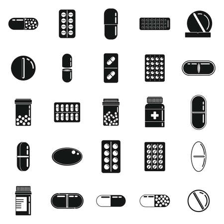 Pill drug icons set, simple style