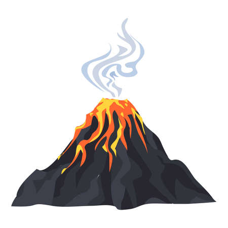 Lava eruption volcano icon, cartoon style
