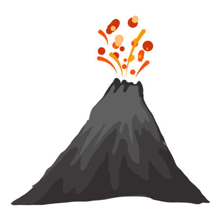 Landscape eruption volcano icon, cartoon style