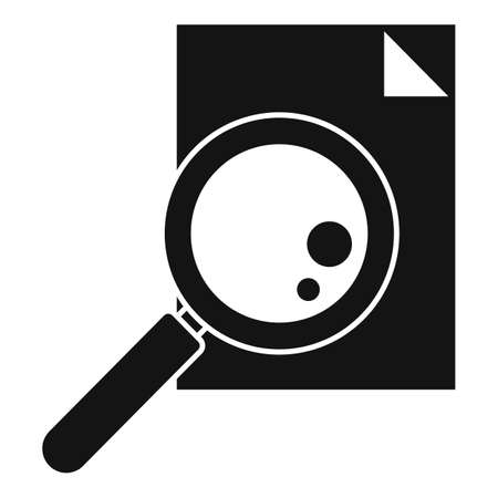 Paper magnifier exploration icon, simple style Иллюстрация