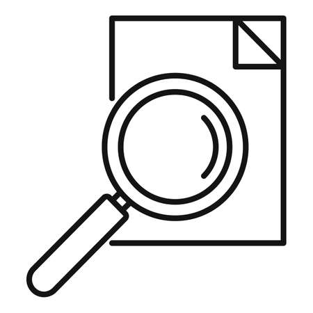 Paper magnifier exploration icon, outline style