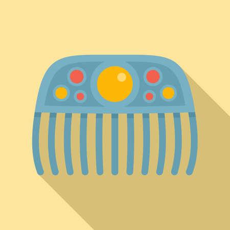 Gemstone barrette icon, flat style