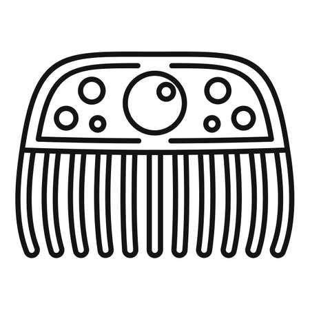 Gemstone barrette icon, outline style