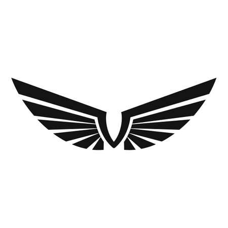Emblem wings icon, simple style Vettoriali