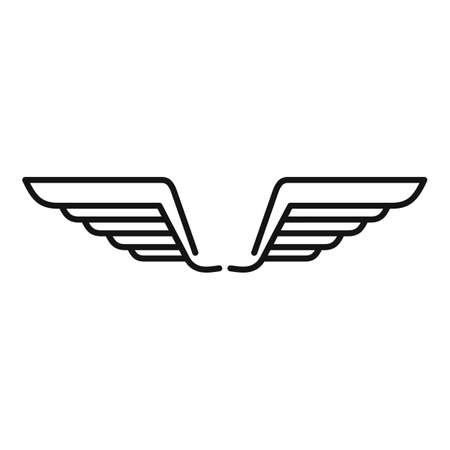 Wings nature icon, outline style Vettoriali