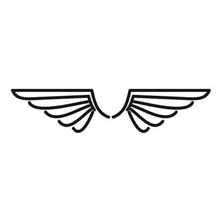 wings icon, outline style Vettoriali