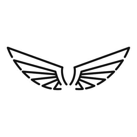Emblem wings icon, outline style