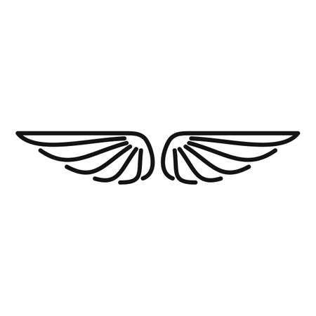 Ornament wings icon, outline style Vettoriali