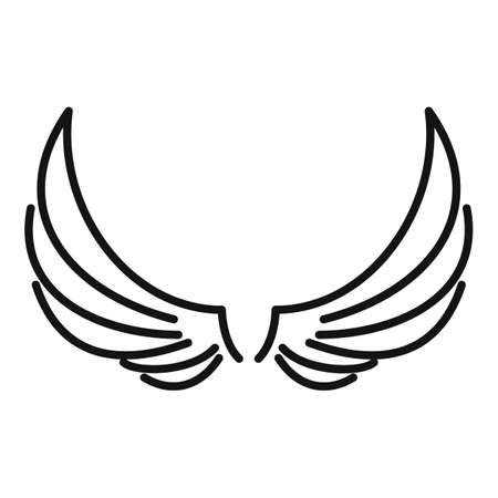 Symbol wings icon, outline style