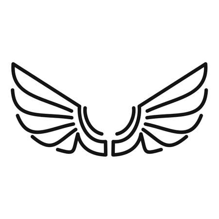 Tattoo wings icon, outline style Vettoriali