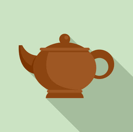 Sauna tea pot icon, flat style