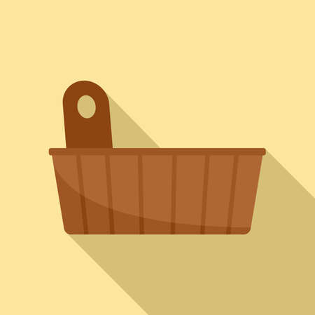 Sauna wood pot icon, flat style Illustration