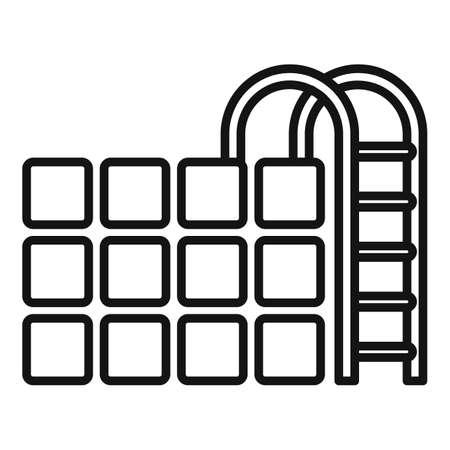 Sauna pool icon, outline style Vettoriali