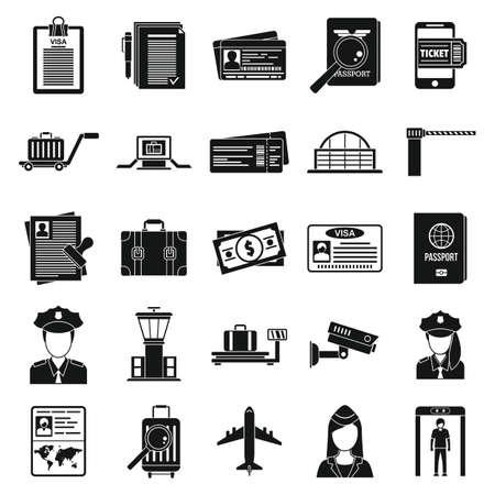 Police passport control icons set, simple style Vektorgrafik