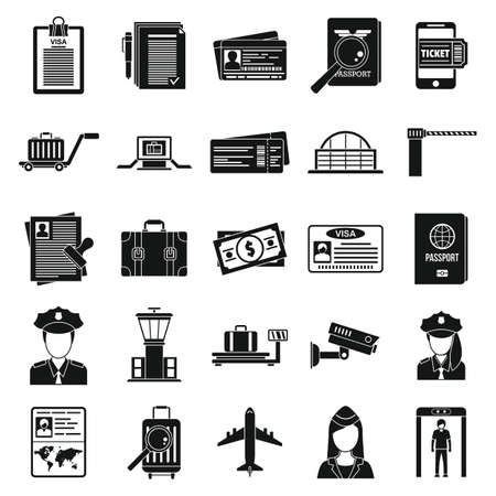 Police passport control icons set, simple style Vector Illustration