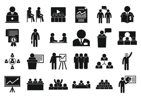 Business training icons set, simple style