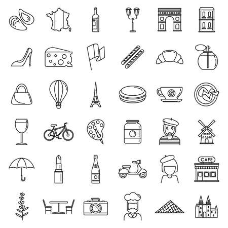 France country icons set, outline style