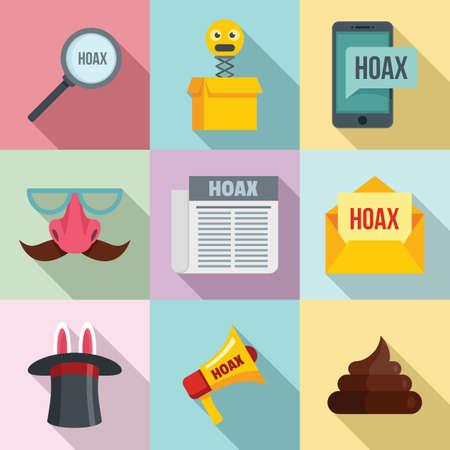Hoax icons set, flat style