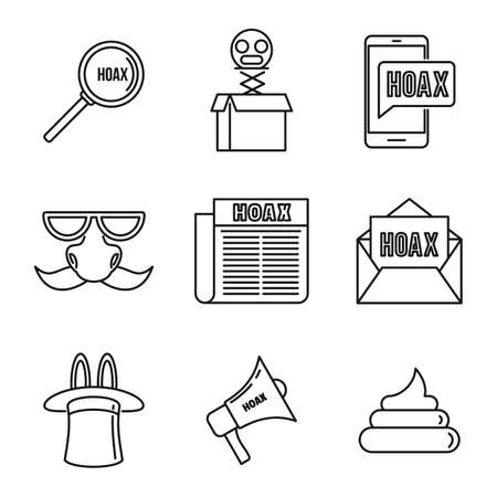 Hoax fake icons set, outline style