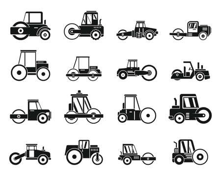 Work road roller icons set, simple style