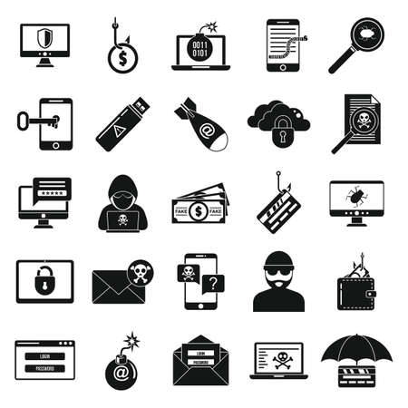 Fraud security icons set, simple style