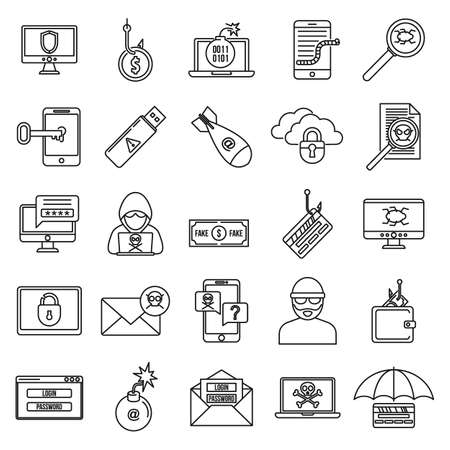 Fraud spy icons set, outline style