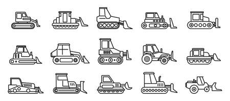 Construction bulldozer icons set, outline style