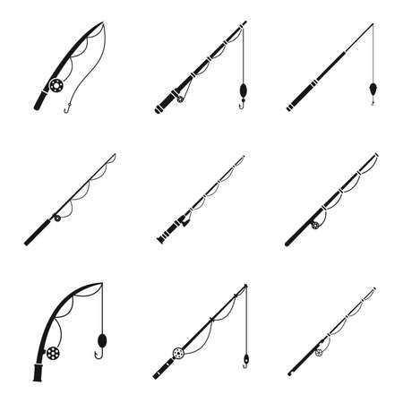 Fishing rod instrument icons set, simple style Ilustração