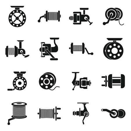 Fishing reel icons set, simple style