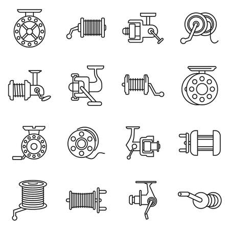 Sport fishing reel icons set, outline style