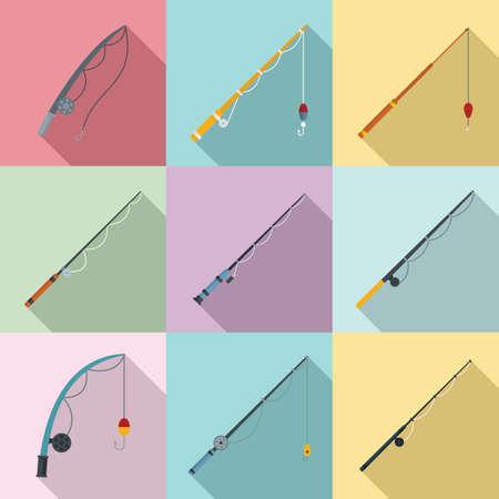 Fishing rod icons set, flat style