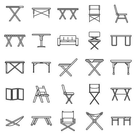 Picnic folding furniture icons set, outline style
